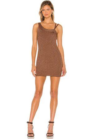 superdown Gina Mini Dress in - Brown. Size L (also in M, S, XS).