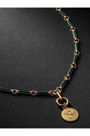 Foundrae Homem Colares - Karma 18-Karat Gold, Malachite and Diamond Necklace