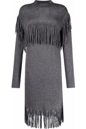 Pinko Fringe-detail knitted dress