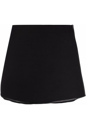 VALENTINO High-waisted leather-trim shorts