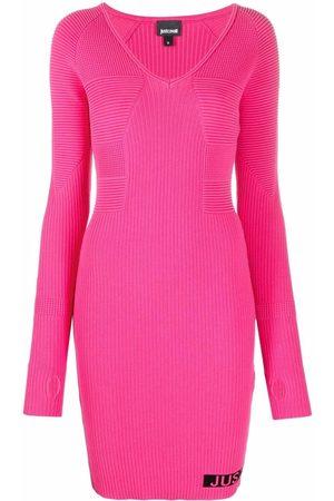 Roberto Cavalli Ribbed knit intarsia-logo dress