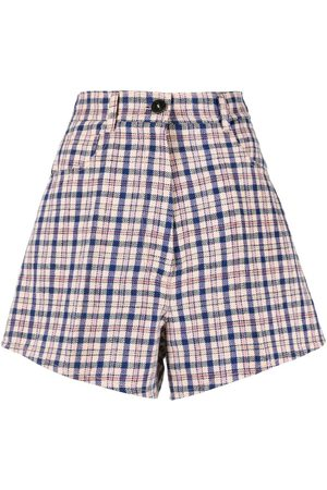 FORTE FORTE Check-print flared shorts