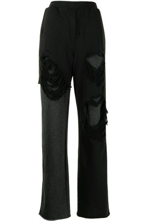 GOEN.J Distressed layered wide leg trousers