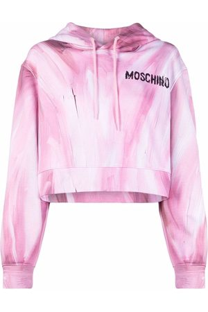 Moschino Senhora Tops de Cavas - Brushstroke-print cropped hoodie
