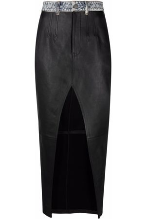 Alexander Wang Front slit long leather skirt