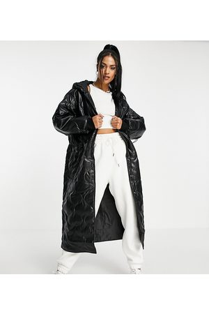 ASOS Tall ASOS DESIGN Tall faux leather quilted hooded puffer coat in black