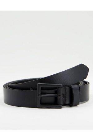 ASOS DESIGN Leather skinny belt in black with matte black buckle