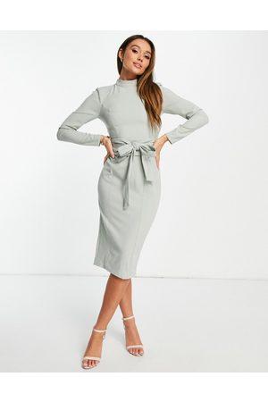 ASOS DESIGN Long sleeve midi dress with obi belt in sage green