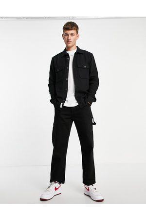 Only & Sons Brushed two pocket overshirt in black