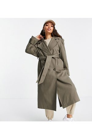 ASOS Petite Senhora Gabardinas - ASOS DESIGN Petite trench coat with hood in stone-Neutral
