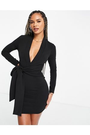 ASOS Long sleeve v neck mini dress with tie belt in black