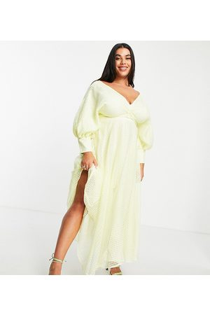 ASOS EDITION Curve blouson sleeve midi dress in organza check in pale yellow
