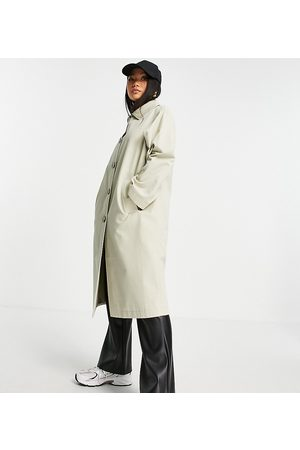 ASOS Senhora Gabardinas - ASOS DESIGN Petite longline trench coat in stone-Neutral