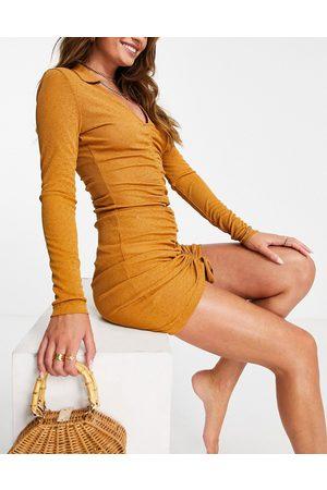 ASOS Gathered slinky beach mini dress in rust