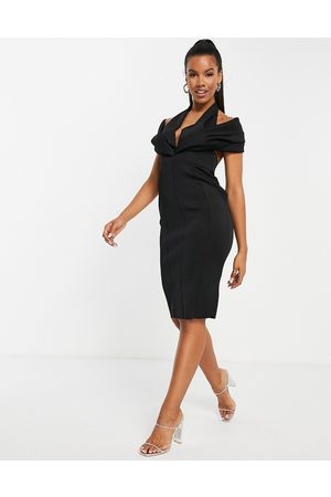ASOS DESIGN Exaggerated collar with open back midi pencil dress in black