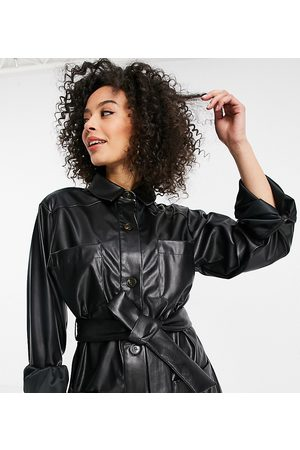 ASOS ASOS DESIGN Tall waisted leather look shacket in black