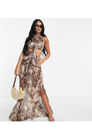 ASOS ASOS DESIGN tall high neck cut out knot waist midi beach dress in blurred animal-Multi