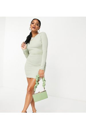 Missyempire Exclusive ribbed tie waist backless mini dress in light sage-Green