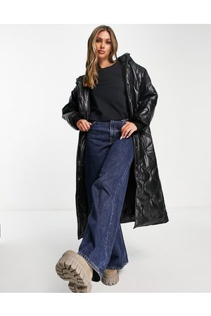 ASOS DESIGN Faux leather quilted hooded puffer coat in black