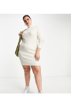 Wednesday's Girl Curve Relaxed jumper dress in rib knit-White