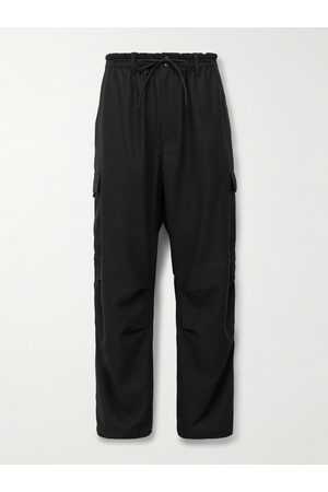 Y-3 Cropped Flannel Drawstring Cargo Trousers