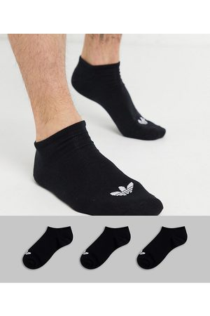 adidas Adicolor Trefoil 3 pack trainer socks in black
