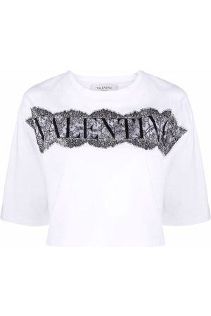 VALENTINO Lace-panel cropped T-shirt