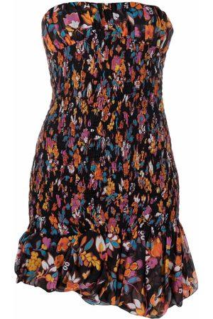 Saint Laurent Senhora Vestidos Casual - Floral-print strapless dress