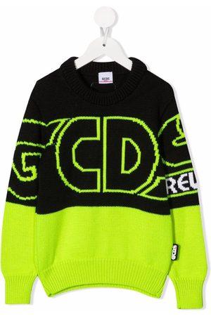 GCDS Menino Tops de Cavas - Two-tone logo-print jumper