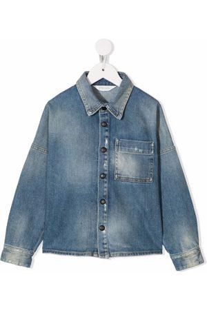 Palm Angels Kids Rear-logo long-sleeve denim shirt