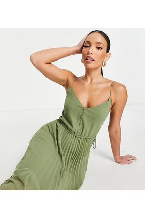 ASOS Tall Senhora Vestidos de Festa - ASOS DESIGN Tall button front pleated cami midi dress with drawstring waist in khaki-Green