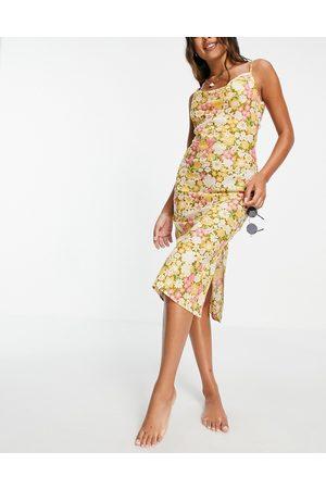 ASOS DESIGN Senhora Vestidos Estampados - Cowl midi slip low back beach dress in retro floral print-Multi