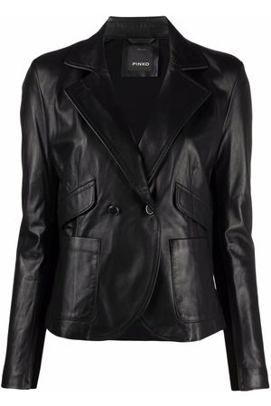Pinko Mulher Casacos de Pele - Double-breasted leather jacket