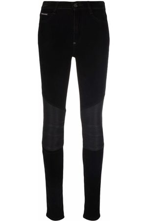 Philipp Plein Mulher Cintura Subida - Leather-inset high-waist skinny jeans