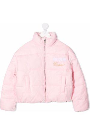 Moschino Kids Embroidered-logo zipped padded jacket