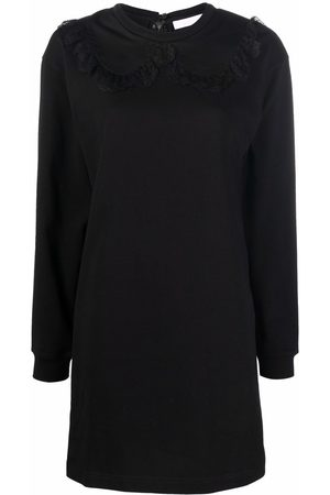 See by Chloé Mulher Vestidos Casual - Lace-trim long-sleeve mini dress