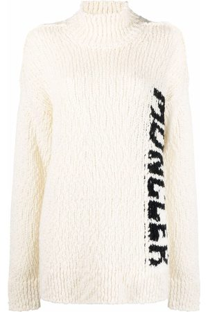 Moncler Mulher Camisolas - Logo-intarsia knitted jumper