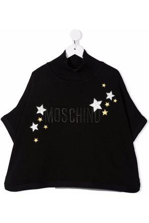 Moschino Kids Logo-embroidery ribbed-trim cape
