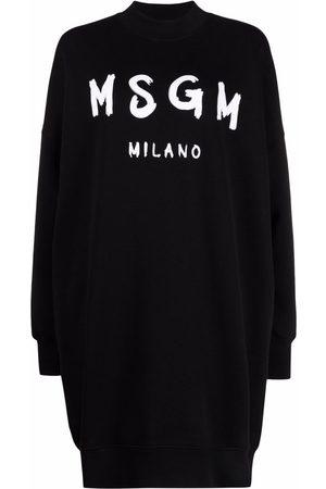 MSGM Brushstroke-logo sweatshirt dress
