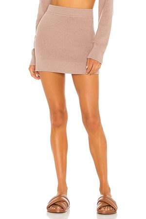 MONROW Sweater Mini Skirt in - Neutral. Size L (also in XS, S, M).