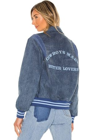 Understated Leather UL Club Denim Bomber in - Blue. Size L (also in S, XS).