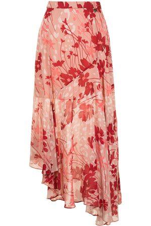 TWINSET Floral print asymmetric fluid skirt