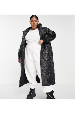 ASOS Curve ASOS DESIGN Curve faux leather quilted hooded puffer coat in black