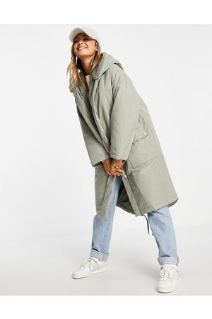ASOS DESIGN Waterfall parka coat in sage-Grey