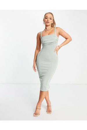 ASOS DESIGN Mulher Vestidos Lápis - Corset pencil midi dress with ruched bust in sage-Green