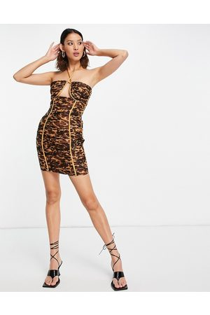 ASOS Halter neck ruched mini dress with ruffle trim in tortoise shell-Multi