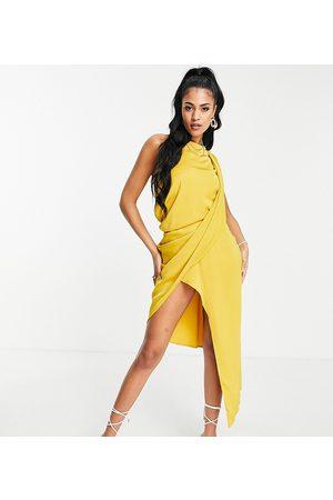 ASOS Tall Mulher Vestidos de Festa - ASOS DESIGN Tall drape bodice midi dress in soft textured crepe in mustard-Orange