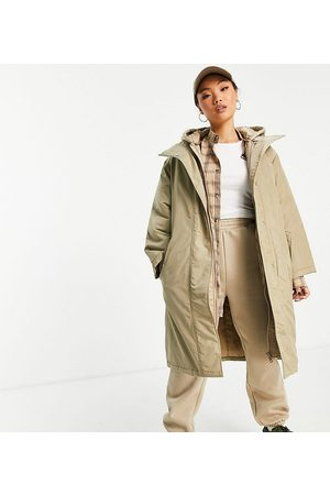 ASOS ASOS DESIGN Petite quilted double layer parka coat in stone-Green