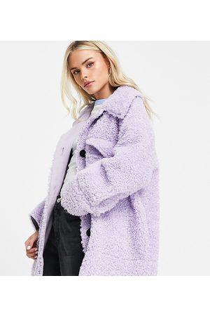 ASOS Petite ASOS DESIGN Petite bonded borg shacket in lilac-Purple