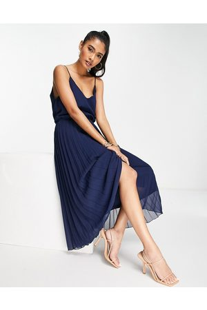 ASOS DESIGN Pleated cami midi dress with drawstring waist in navy